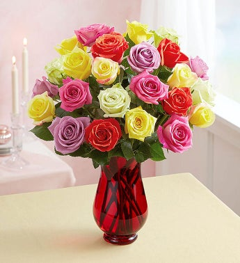 Two Dozen Assorted Roses + Fre...