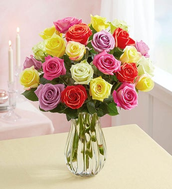 24 Assorted Roses + Free Vase