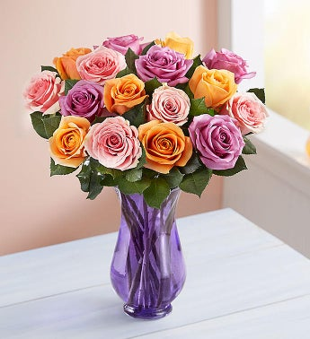 Sorbet Roses 18 Stems with Purple Vase
