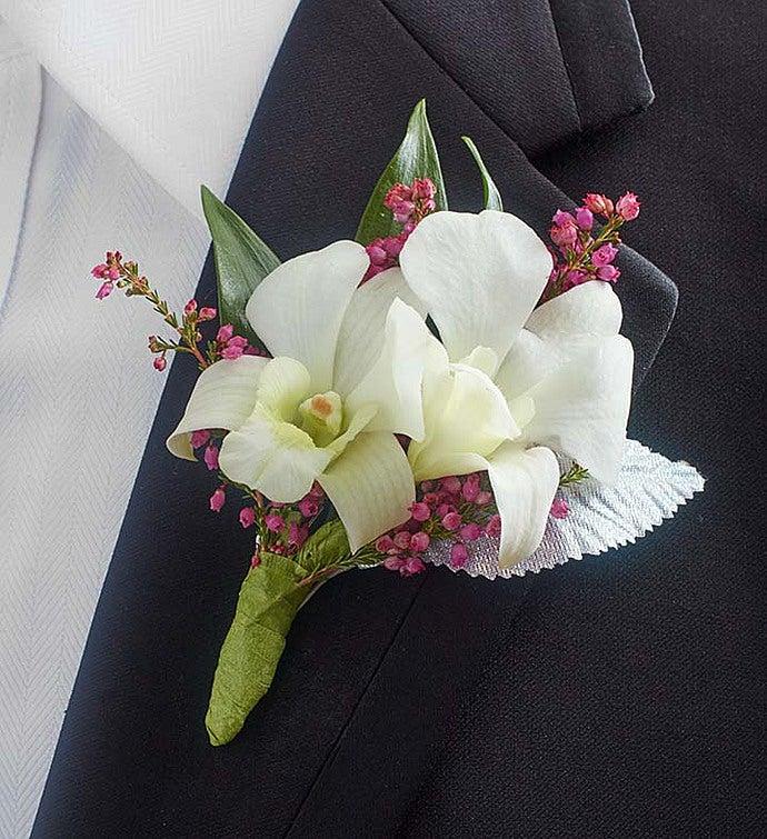 White Dendrobium Orchid Boutonniere | 1800flowers.com - 146538