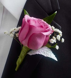 Purple Rose Boutonniere
