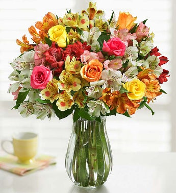 Assorted Rose & Peruvian Lily w/Free Clear Vase
