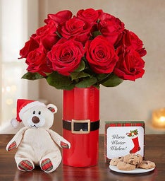 Merry Red Roses with Santa Bear