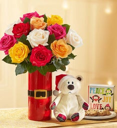 Holiday Lights Roses with Santa Bear