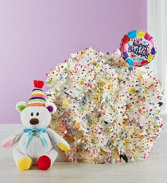 Happy Birthday Confetti Bouquet Double Bouquet with Balloon & Bear