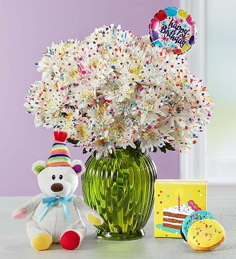 Happy Birthday Confetti Bouquet Double Bouquet with Green Vase, Balloon, Bear & Cookies