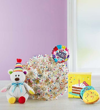 Happy Birthday Confetti Bouquet Single Bouquet with Balloon, Bear & Cookies