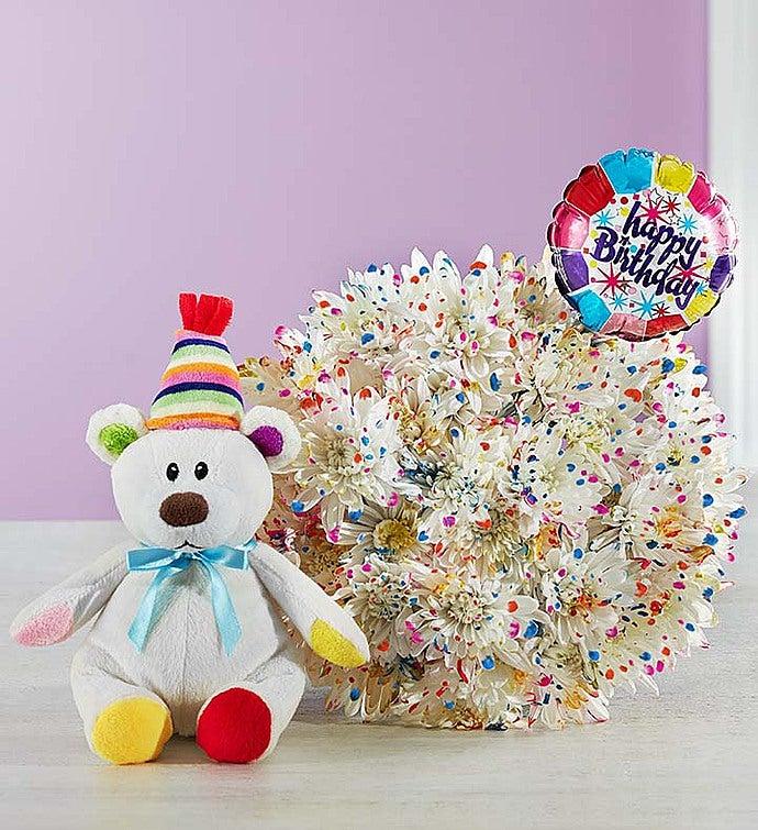 Happy Birthday Confetti Bouquet Single Bouquet with Balloon & Bear
