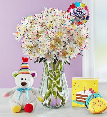 Happy Birthday Confetti Bouquet Single Bouquet with Clear Vase, Balloon, Bear & Cookies