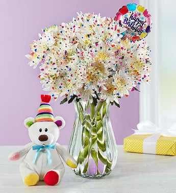 Happy Birthday Confetti Bouquet Single Bouquet with Clear Vase, Balloon & Bear
