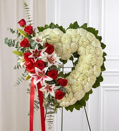 Always Remember™ Floral Heart Tribute - Red Rose & Lily