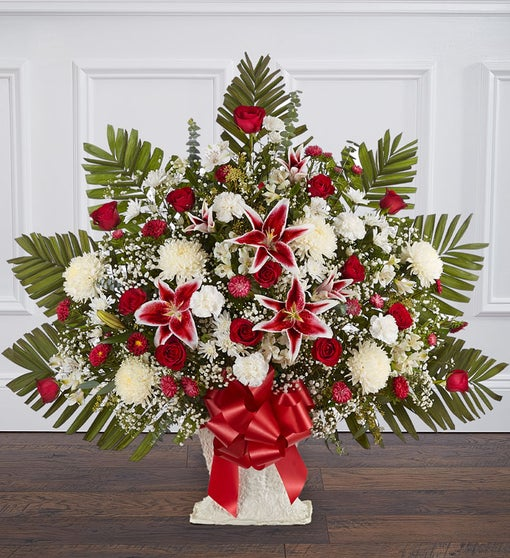 Heartfelt Tribute™ Red Rose & Lily Floor Basket Arrangement