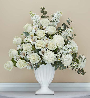 Funeral Flowers And White Lily Cross