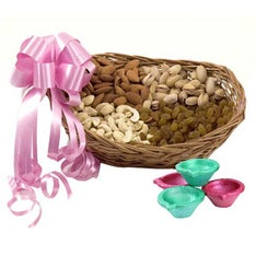 Mix Dry Fruits Basket & Diya