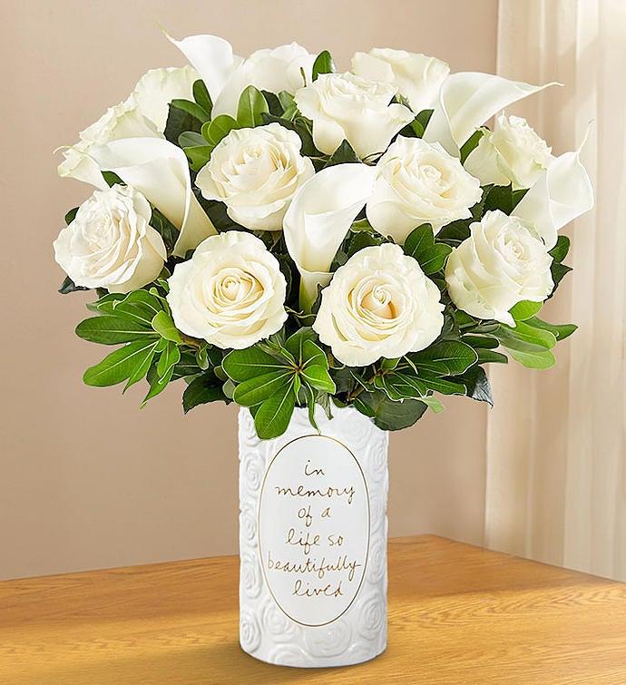 White Rose Calla Lily Bouquet Sympathy 1800flowers Com