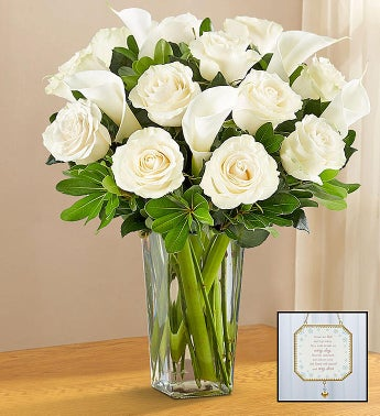 White Rose  Calla Lily Bouquet for Sympathy