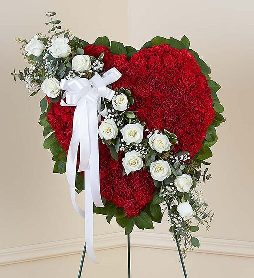 Always Remember™ Floral Heart Tribute - Red with White Roses