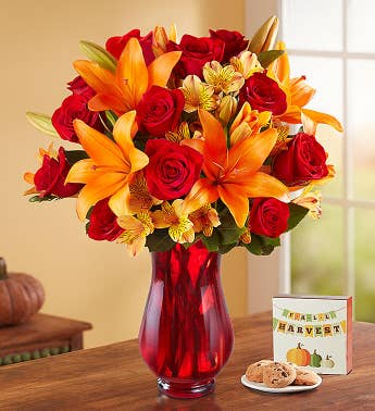 Elegant Autumn Rose  Lily Bouquet