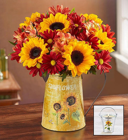 Country Sunflower Bouquet + Free Candle