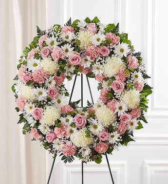 Serene Blessings Standing Wreath- Pink & White Small