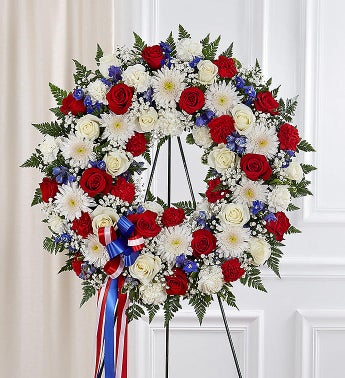 Serene Blessings Standing Wreath- Red White  Blue