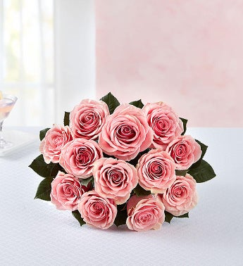 Pink Roses 12 Stems Bouquet Only