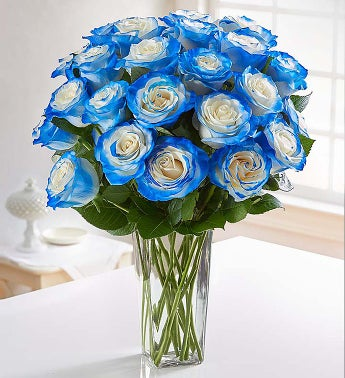 Grand Electric Blue Airbrushed Roses