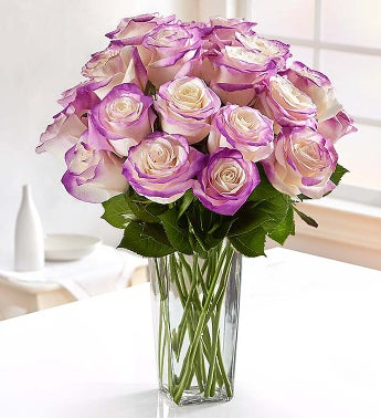 Grand Bright Purple Airbrushed Roses, 12-24 Stems