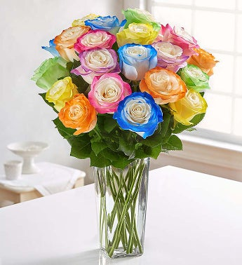 Grand Bright Assorted Airbrushed Roses