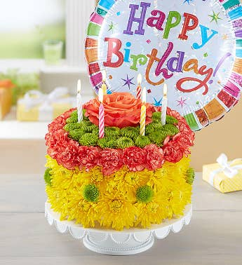 Birthday Wishes Flower Cake™ Yellow
