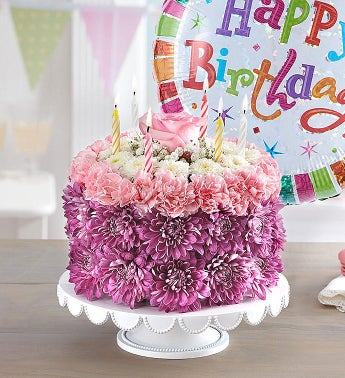 Birthday Wishes Flower Cake Pastel