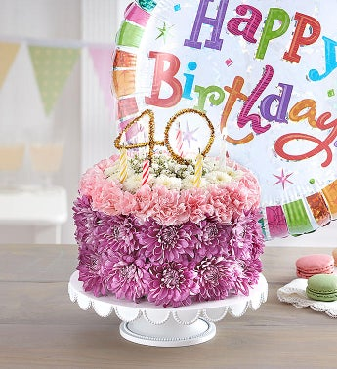 Birthday Wishes Flower Cake Pastel - Milestone 40th with Free Balloon