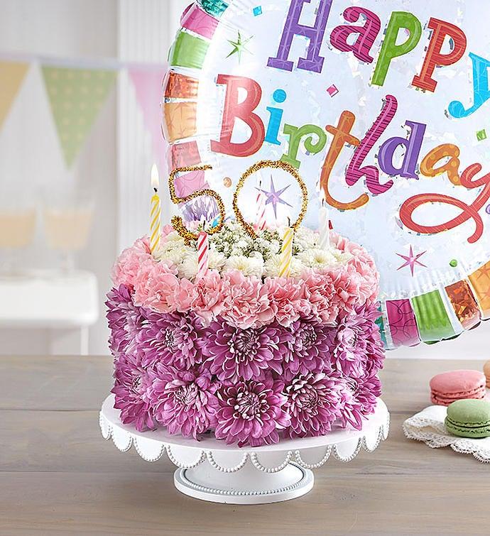 Birthday Wishes Flower Cake Pastel - Milestone 50th with Free Balloon