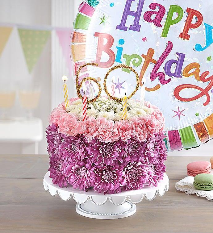 Birthday Wishes Flower Cake Pastel - Milestone 60th with Free Balloon