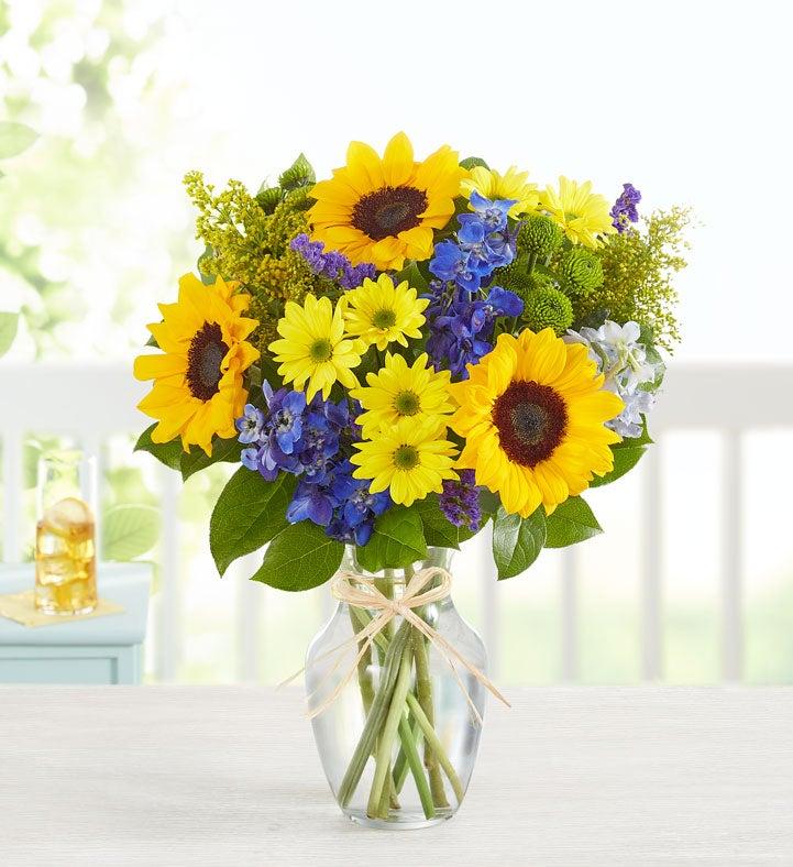 Fields of Europe Summer Bouquet w/Vase (Medium)