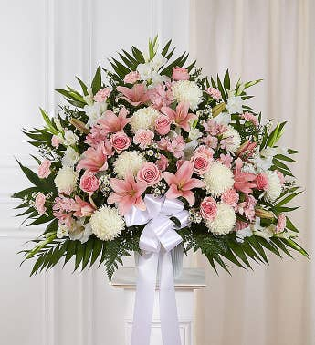 Pink funeral flowers white pink sympathy flowers 1800flowers heartfelt sympathies standing basket pink white mightylinksfo