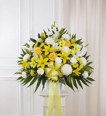 Heartfelt Sympathies Standing Basket- Yellow Small