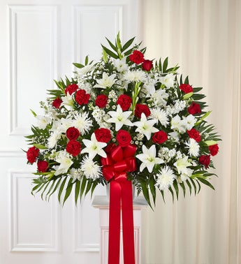 Heartfelt sympathies red white standing basket 1800flowers heartfelt sympathies standing basket red white mightylinksfo