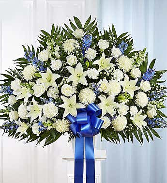 Heartfelt Sympathies Blue & White Funeral Standing Basket