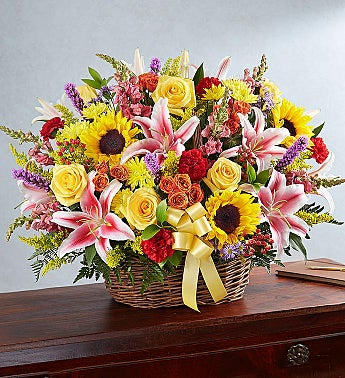 Multicolor Bright Sympathy Basket Arrangement