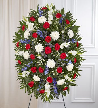 Red white blue sympathy standing spray 1800flowers for Red white blue flower arrangements