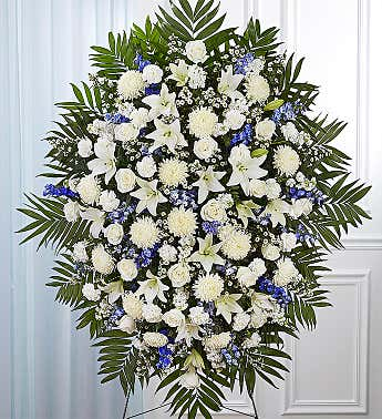 Blue & White Funeral Standing Spray