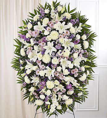 Lavender And White Funeral Standing Spray