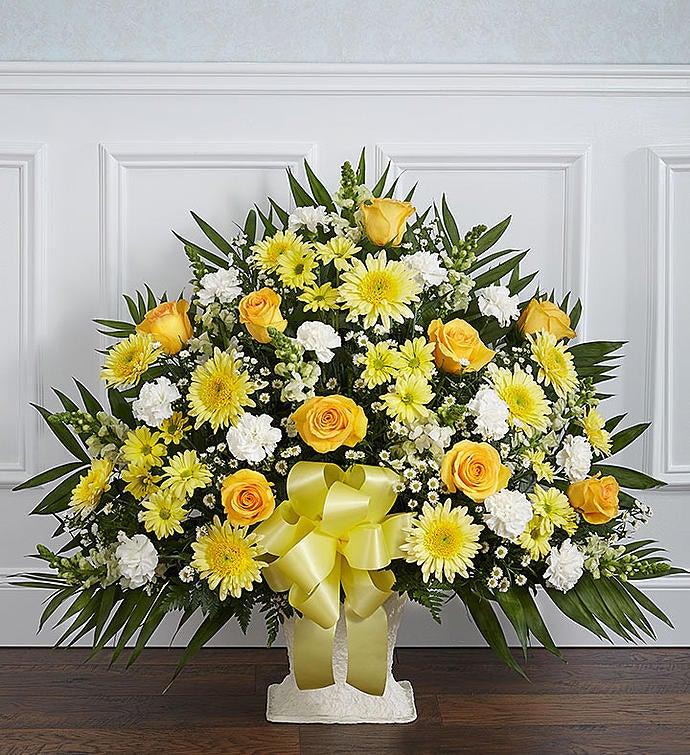Heartfelt Tribute Yellow Floor Basket Arrangement