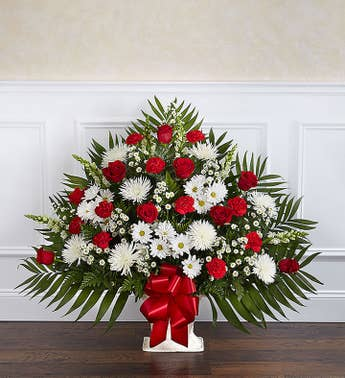 Heartfelt Tribute Floor Basket- Red  White