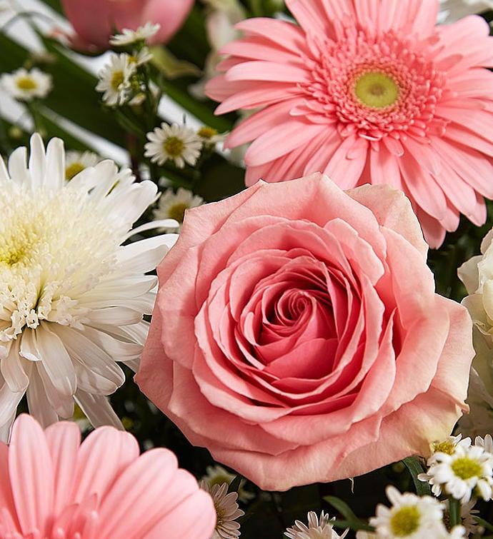 Heartfelt Tribute Pink  White Floor Basket Arrangement