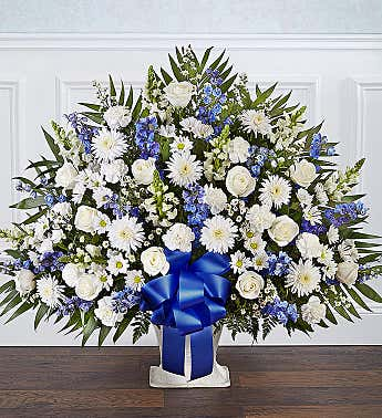 Heartfelt Tribute™ Blue & White Floor Basket Arrangement