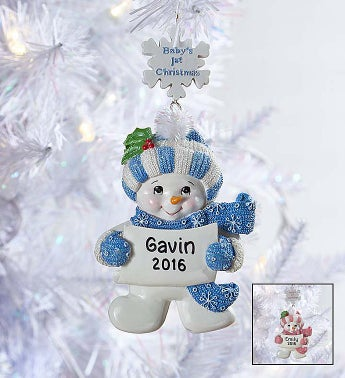 Baby's First Christmas Ornament- Pink or Blue