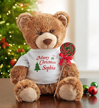 Personalized Holiday Tommy Teddy and Free Lollipop