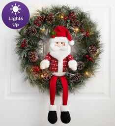 Holiday Santa Wreath with LED Lights- 22
